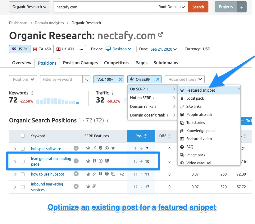 SEMRush Organic Research - Idea 7