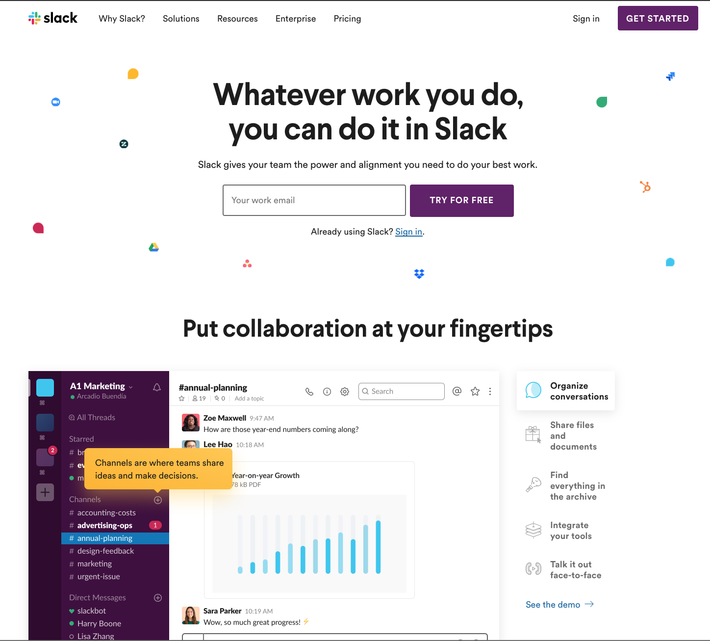Slack website