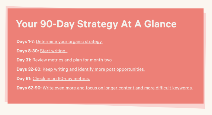 Your 90-day strategy at a glance