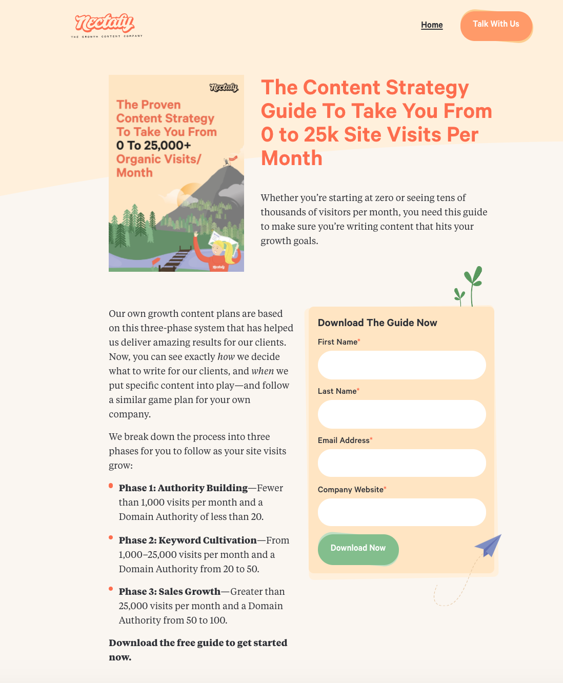 Nectafy landing page example
