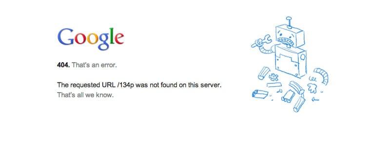 Google's subtle 404 page