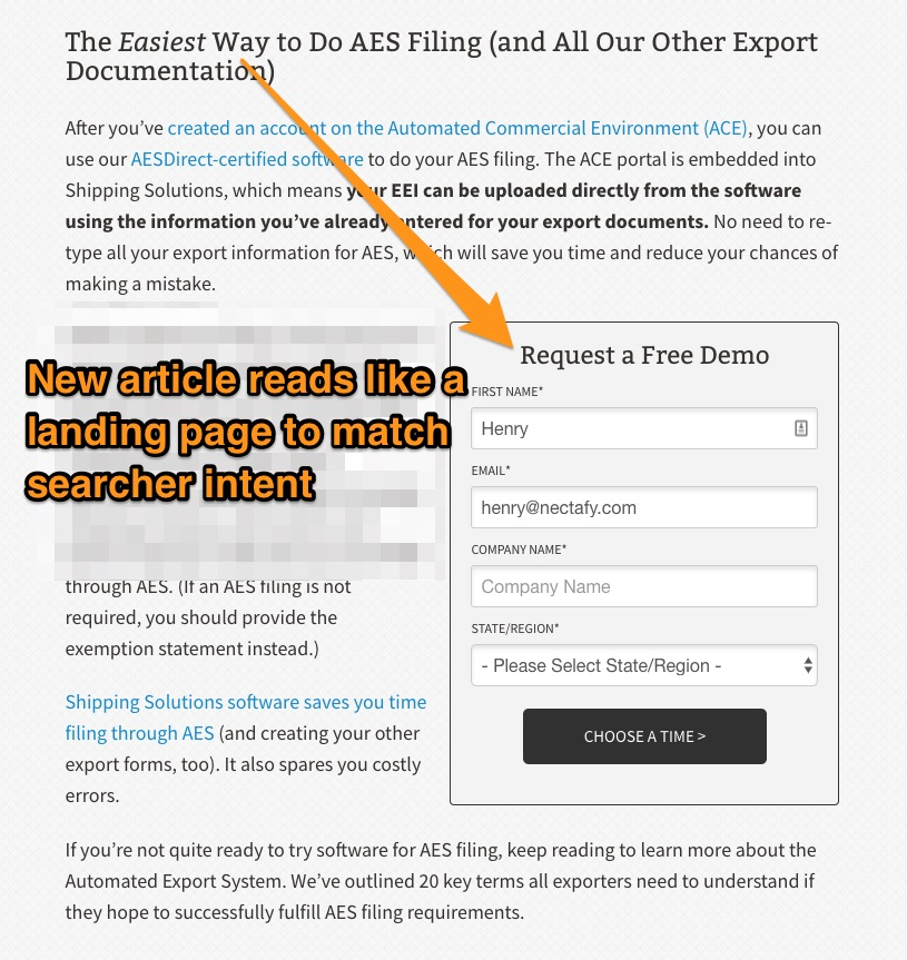 AES Filing Software by Shipping Solutions (Plus 20 Key Terms) - Shipping Solutions' bottom-of-funnel landing page