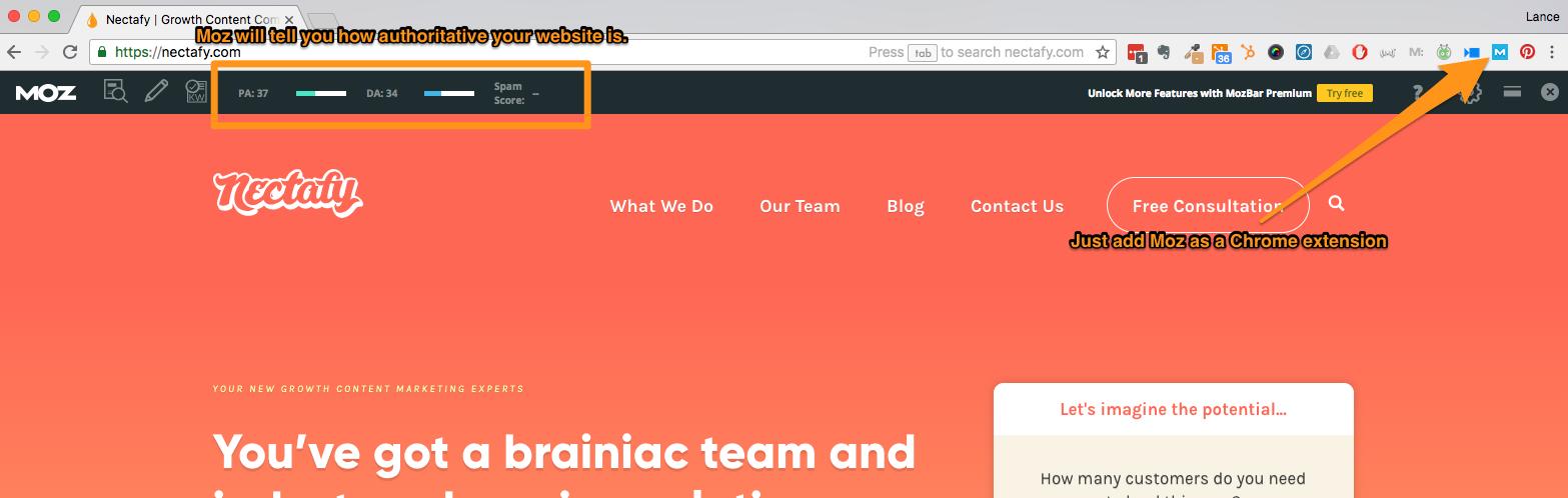 MozBar on Nectafy's website