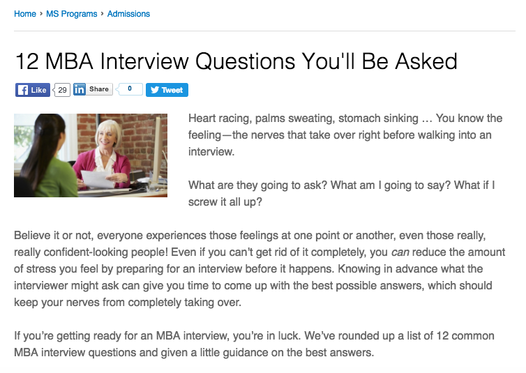 12 MBA Interview Questions You'll Be Asked - Bentley's long-tail article