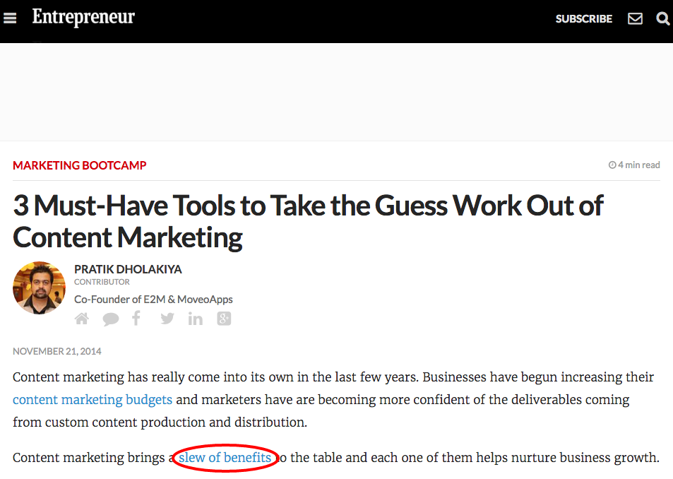 "The link Entrepreneur.com gave the Nectafy article, ""59 Benefits Of Content Marketing From 50 Expert Marketers"""