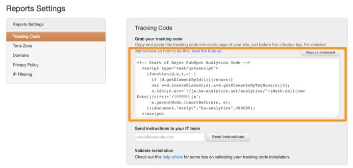 Install HubSpot Tracking JavaScript