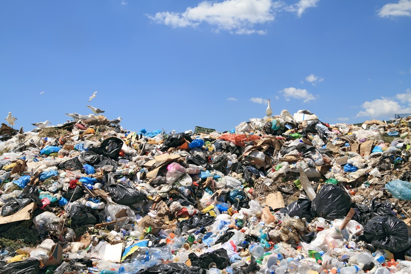 Pile of domestic garbage in landfill