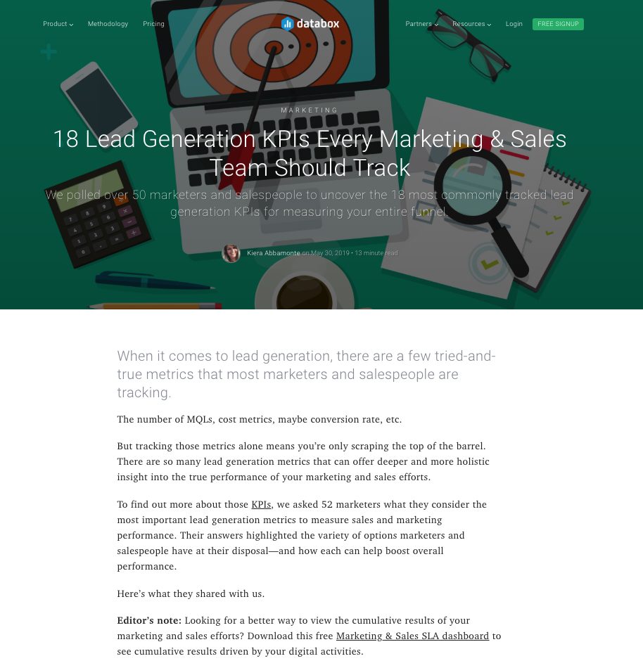 18 Lead Generation KPIs Every Marketing & Sales Team Should Track - Databox