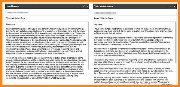Breaking emails into short paragraphs to make them easier to read