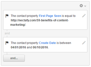 "Contact list with properties ""First Page Seen"" and ""Create Date"""