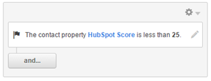"Contact property ""HubSpot Score"" set to less than 25"