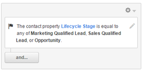 "Contact property ""Lifecycle Stage"" set to any of ""Marketing Qualified Lead,"" ""Sales Qualified Lead,"" or ""Opportunity"""