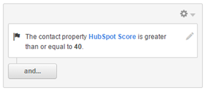 "Contact property ""HubSpot Score"" set to greater than or equal to 40"