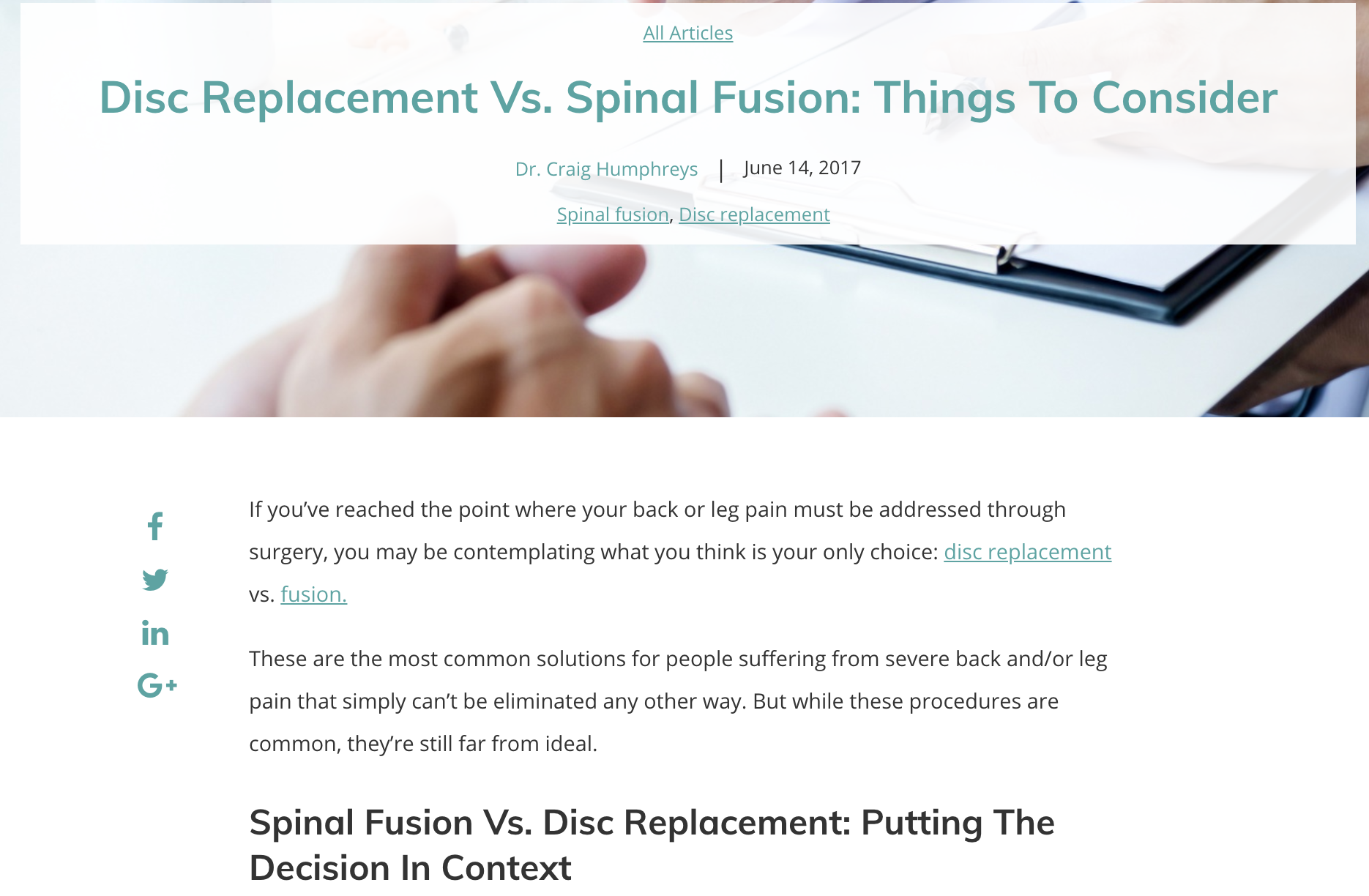 Disc Replacement Vs. Spinal Fusion: Things To Consider - BalancedBack's™ comparison post