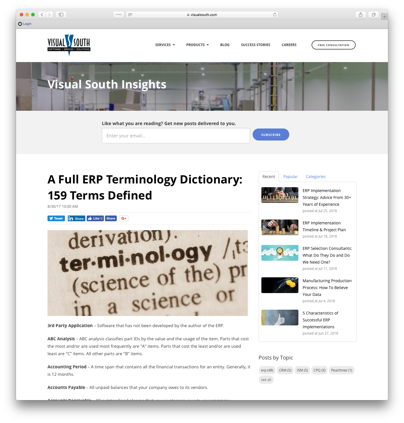 Example terminology post - ERP Terminology Dictionary