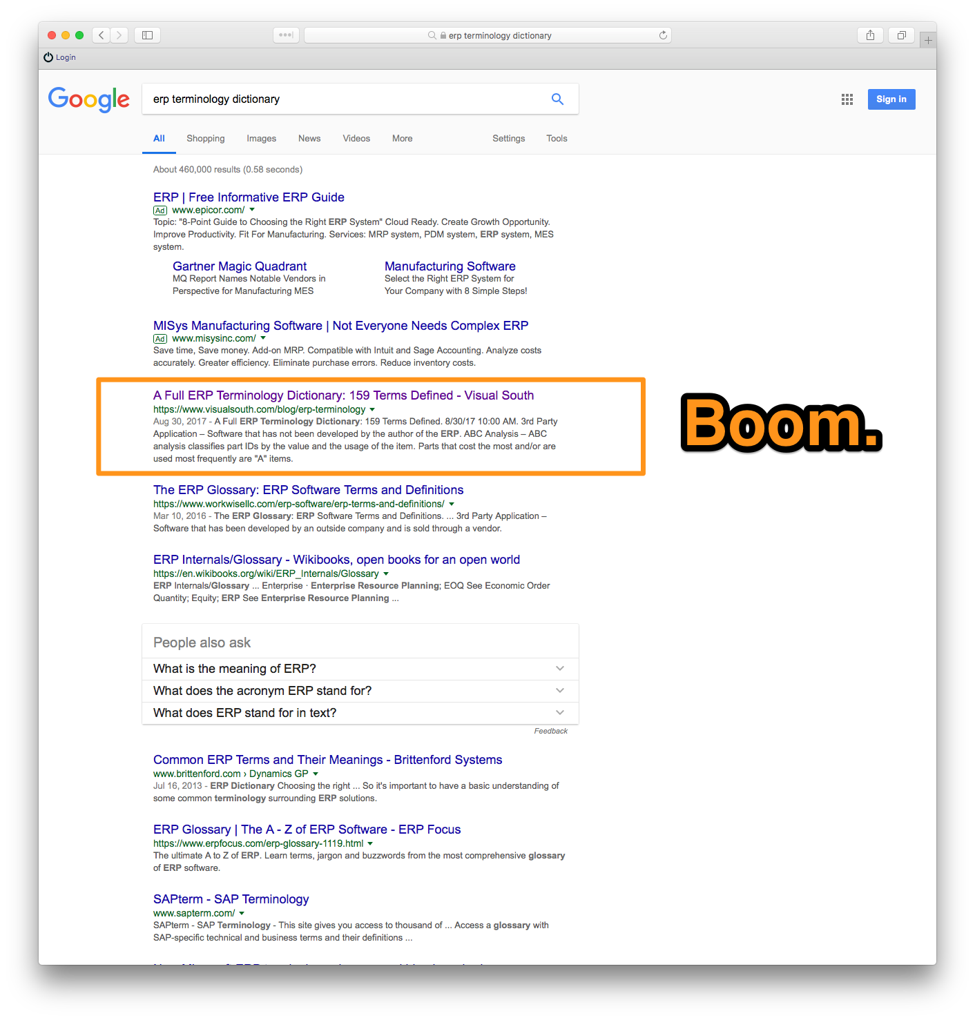 Example terminology post search engine ranking