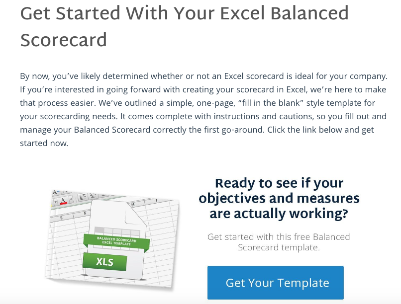 How To Create A Balanced Scorecard In Excel - ClearPoint's offer introduction post