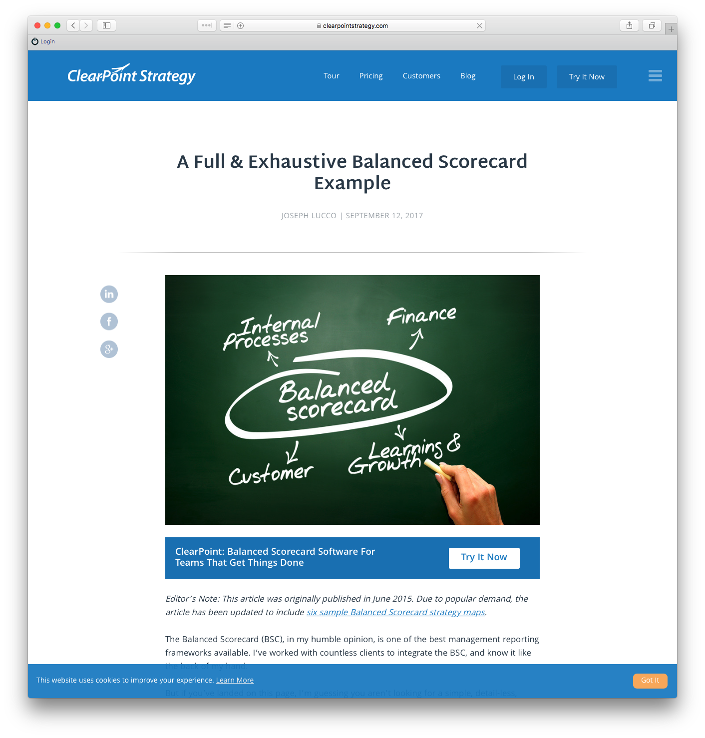 Example of an example post - A Full & Exhaustive Balanced Scorecard Example
