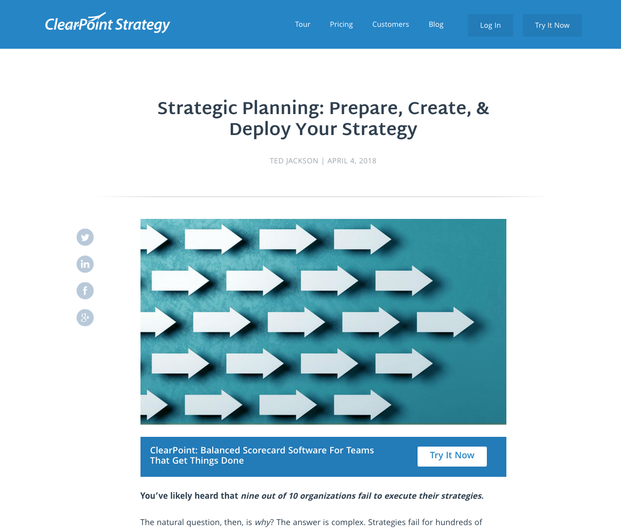 Strategic Planning: Prepare, Create, & Deploy Your Strategy - ClearPoint's pillar page