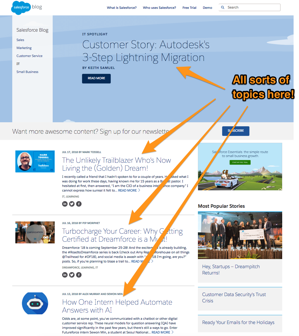 The many topics on Salesforce's blog