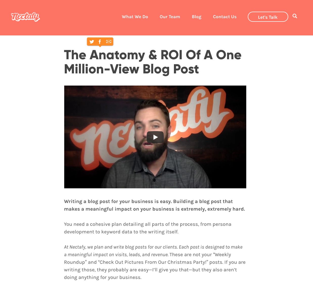 The Anatomy & ROI Of A One Million-View Blog Post - A unique story from Nectafy