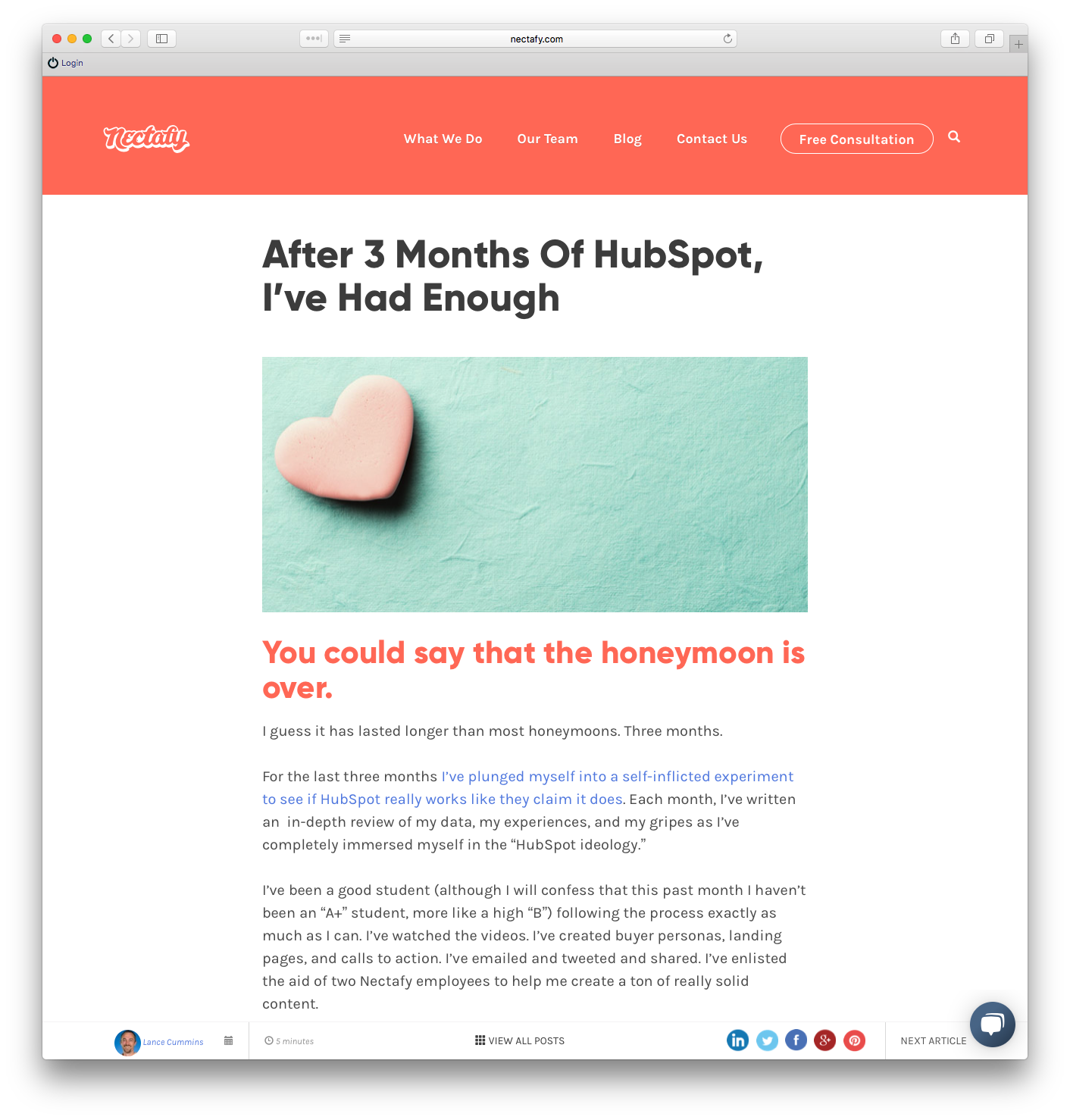 Example review post - HubSpot Review